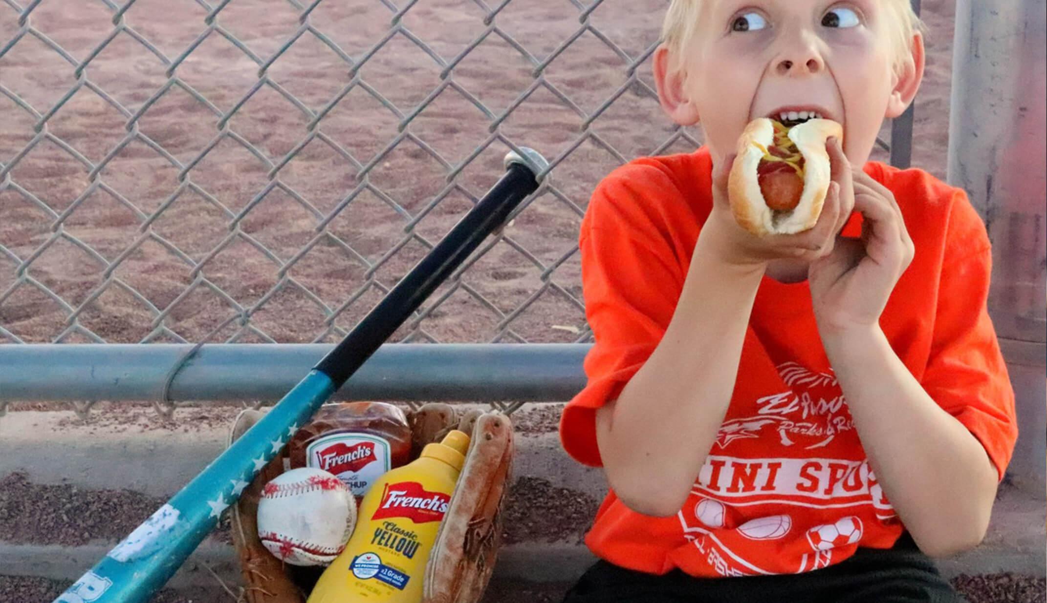 funny kid eating hot-dog baseball bat funny pic UGC content