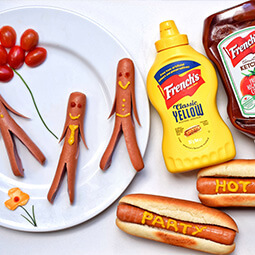 flat lay food kids sausage hot-dog plate ketchup funny meal UGC content